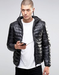 Brave Soul Quilted Padded Jacket With In Built Headphones Black