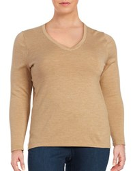 Lord And Taylor Plus Merino Wool V Neck Sweater Classic Camel Heather