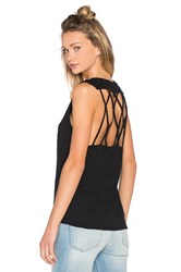 Bobi Slubbed Jersey Open Back Tank Black