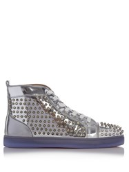 Christian Louboutin Louis Spike Embellished Leather High Top Trainers Silver