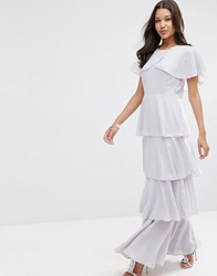 Asos Cape Layered Ruffle Front Maxi Dress Soft Grey Beige