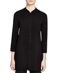 Eileen Fisher Mandarin Collar Button Down Tunic Black