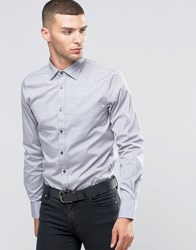 Sisley Slim Fit Shirt With Contrast Buttons Grey 941