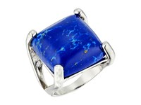 Guess Large Square Stone Prong Set Ring Silver Lapis Ring Blue