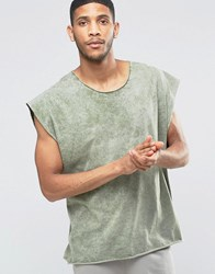 Asos Super Oversized T Shirt With Scoop Neck In Acid Wash Green Pale Green