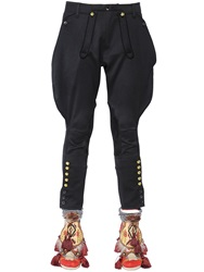 Dsquared Wool Riding Pants With Leather Details Black