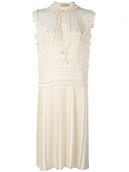 Veronique Branquinho Pleated Dress Nude And Neutrals