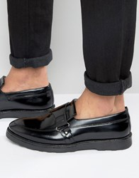 Asos Loafers In Black Leather With Wedge Sole Black