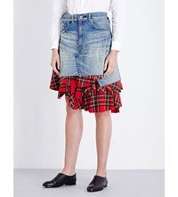 Junya Watanabe Tartan Underlayer Denim Skirt Indigo X Red