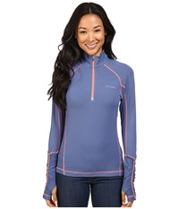 Columbia Trail Flash 1 2 Zip Shirt Bluebell Hot Coral Women's Long Sleeve Pullover
