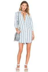 7 For All Mankind Stripe Shirt Dress Blue