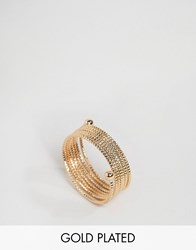 Ny Lon Nylon Gold Plated Spiral Wrapped Ring Gold
