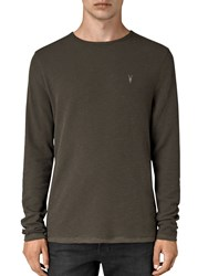 Allsaints Clash Crew Long Sleeve Jersey Top Pewter Brown