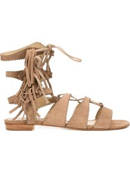 Schutz Fringed Laced Sandals Brown