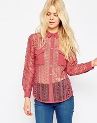 Asos Premium All Over Heavy Lace Shirt With Pocket Detail Pink