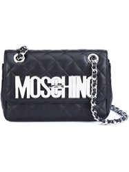 Moschino Quilted Logo Plaque Shoulder Bag Black