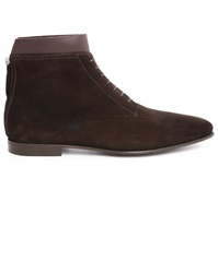 Paul And Joe Waris Brown Suede Zip Back Dual Material Laced Boots