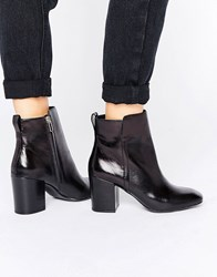 Aldo Quria Heeled Leather Ankle Boots Black Leather