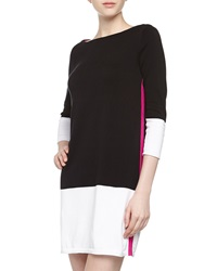 Mag By Magaschoni Three Quarter Colorblock Knit Dress Black Whit