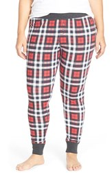 Plus Size Women's Cozy Zoe Holiday Print Leggings Red Plaid