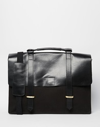 Asos Satchel In Black Canvas And Leather