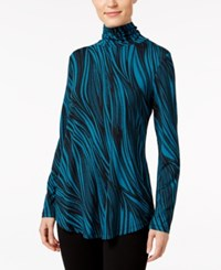 Jm Collection Printed Turtleneck Top Only At Macy's Teal Wavy Dream