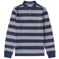 Fred Perry Long Sleeve Striped Polo Grey