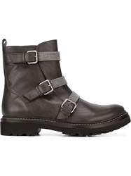 Brunello Cucinelli Buckled Ankle Boots Grey