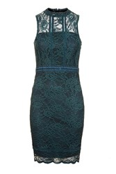 Topshop Scallop Mix Lace Bodycon Dress Teal