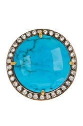 Liv Oliver 18K Yellow Gold Plated Sterling Silver Turquoise And Cz Halo Statement Ring