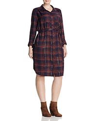 Lucky Brand Plus Plaid Shirt Dress Blue Multi