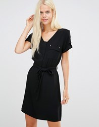 B.Young Esme Dress With Pockets And Waist Tie Black