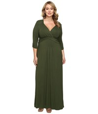 Kiyonna Desert Rain Maxi Dress Olive You Women's Dress Orange