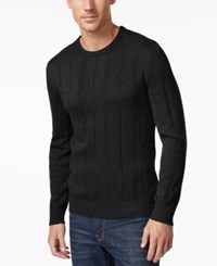 John Ashford Men's Big And Tall Crew Neck Striped Texture Sweater Only At Macy's Deep Black