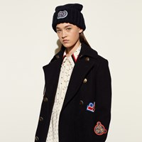 Coach Chunky Embellished Patch Beanie Navy