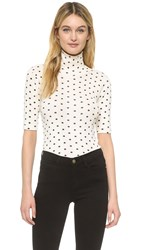 Edith A. Miller Turtleneck Half Sleeve Top Natural And Black Polka Dot