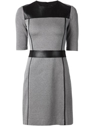 Theory Leather Panel Fitted Dress Black