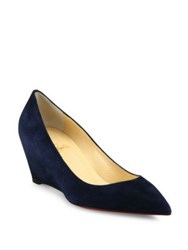 Christian Louboutin Suede Point Toe Wedge Pumps Blue