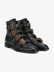 Givenchy Stud Embellished Leather Ankle Boots Black Almond Copper