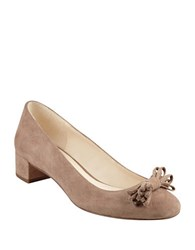 Nine West Elleah Suede Round Toe Pumps Natural