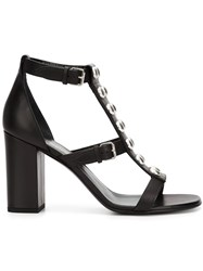 Saint Laurent Studded Open Toe Sandals Black