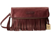 Frye Heidi Fringe Crossbody Plum Soft Vintage Leather Cross Body Handbags Brown