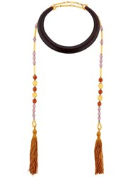 Sharra Pagano Milano Senape Tassels Wooden Necklace For Lvr