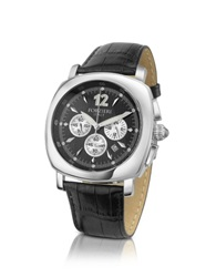 Forzieri Men's Stainless Steel Black Dial Chronograph Watch
