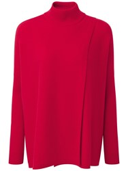 Pure Collection Collectionmae Wrap Front Cashmere Poncho Pillarbox Red