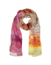 Julia Cocco' Palms And Sea Print Silk Long Scarf Red And Purple