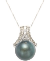 Macy's Cultured Black Tahitian Pearl 13Mm And Diamond 1 3 Ct. T.W. Pendant Necklace In 14K White Gold Gray