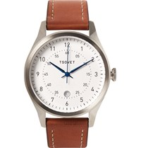 Tsovet Svt Rm40 Stainless Steel And Leather Watch Brown