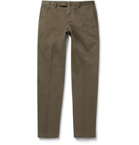 Boglioli Slim Fit Stretch Cotton Chinos Army Green