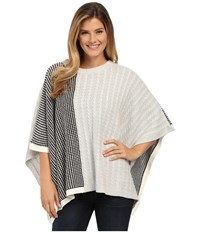 Vince Camuto Cable Waffle Stitch Crew Neck Poncho Grey Heather Women's Sweater Gray